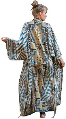 EDOLYNSA Women's Beach Coverups Long Kimono Robe Open Front Swimsuit Cover up - Multi - One Size