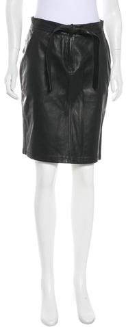 A.L.C. Leather Knee-Length Skirt