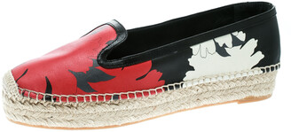 Dolce & Gabbana Alexander McQueen Multicolor Print Leather Espadrille Platform Loafers Size 40