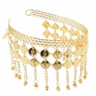 Ipotch Fashion Coin Tassel Head Band Head Chain Belly Dance Headpiece Headwear Accessory - Gold 13.5x15cm