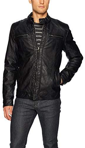 X-Ray Men's Slim Fit Over Washed Faux Leather Jacket with Stitch Detail