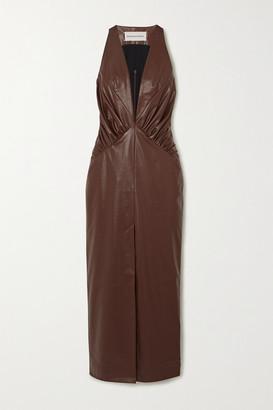 ALEKSANDRE AKHALKATSISHVILI Faux Leather Midi Dress - Brown