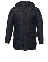 Calvin Klein Men's Mixed Media Quilted 3/4 Length Nylon Coat