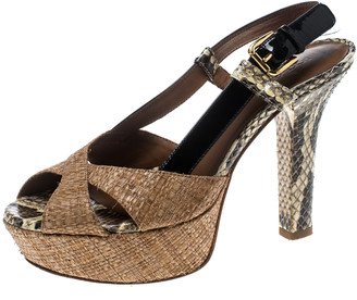 Dolce & Gabbana Beige Raffia and Python Leather Cross Strap Platform Sandals Size 36