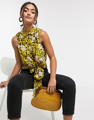 Liquorish tie front blouse in floral leopard print