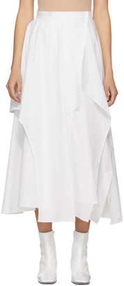 Enfold White Broad Random Hem Skirt
