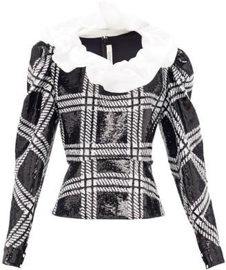 Rodarte Ruffled Checked Sequin Blouse - Black Silver