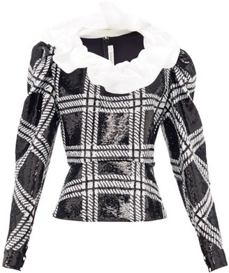 Rodarte Ruffled Checked Sequin Blouse - Womens - Black Silver