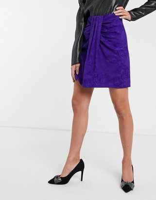 And other stories & leopard jacquard gathered mini skirt in purple