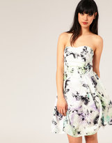 Silk Foliage Print Hitch Dress