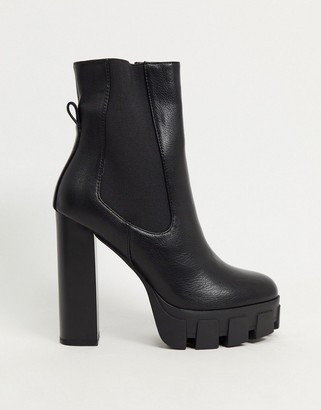 Simmi Shoes Simmi London Roxi heeled ankle boots with chunky soles in black