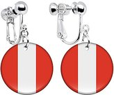 Body Candy Peru Flag Clip on Earrings