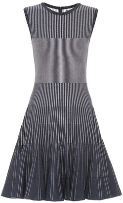 Oscar de la Renta Striped stretch-knit minidress
