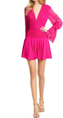 Mac Duggal Bell Long Sleeve Chiffon Fit & Flare Minidress