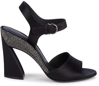 Salvatore Ferragamo Embellished Satin Block-Heel Sandals