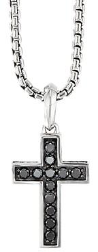 David Yurman Sterling Silver Cross Pendant with Pave Black Diamonds