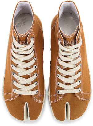 Maison Margiela Tabi High Top Canvas Sneakers in Nude | FWRD