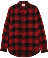 Saint Laurent Plaid Brushed-cotton Shirt - Red