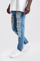 boohoo Mens Blue Skinny Rigid Jeans With Leopard Rip & Repair, Blue