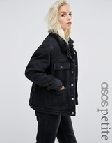 Asos Denim Borg Jacket in Washed Black with Pockets