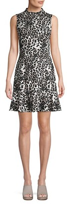 Saks Fifth Avenue Animal-Print Mockneck A-Line Dress