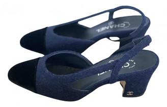 Chanel Slingback Blue Tweed Heels