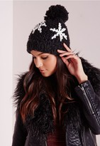 Missguided Knitted Snowflake Hat Black