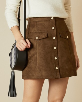 Ted Baker Suedette Button Front Skirt