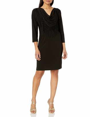 MSK Women's Cowl Neck Fringe Three Quarter Length Sleeve Dress