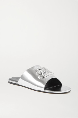 Balenciaga Oval Bb Logo-embellished Mirrored-leather Slides - Silver