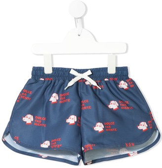 Tiny Cottons Dog Print Swimming Shorts