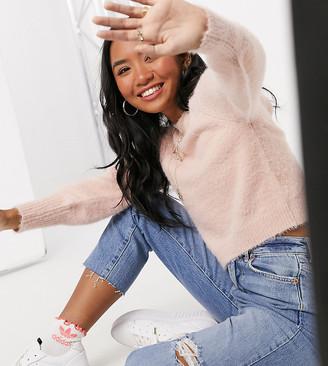Miss Selfridge Petite eyelash sweater in blush