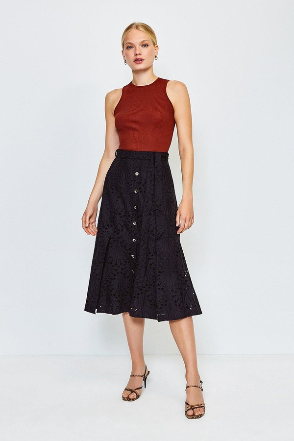 Karen Millen Broderie Button Up Skirt