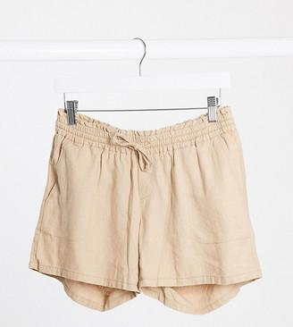 Mama Licious Mamalicious Maternity linen shorts in beige