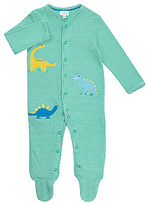 John Lewis Striped Dinosaur Sleepsuit, Green