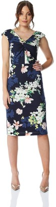 M&Co Roman Originals twist front floral print dress