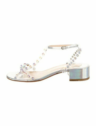 Christian Louboutin Faridaravie Studded Accents T-Strap Sandals Silver