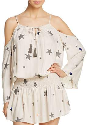 Surf.Gypsy Star Print Cold-Shoulder Tunic Swim Cover-Up