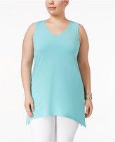 Alfani Plus Size Sleeveless V-Neck Tunic, Only at Macy's