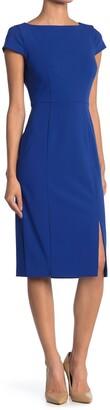 Donna Morgan Boatneck Cap Sleeve Side Slit Dress