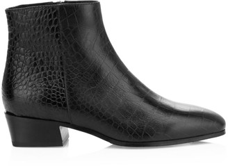 Aquatalia Fuoco Croc-Embossed Leather Ankle Boots