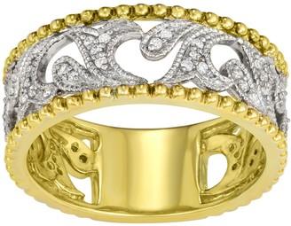 Two Tone 10k Gold 1/5 Carat T.W. Diamond Filigree Wedding Band