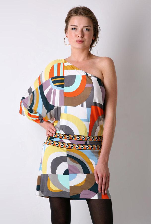 BCBGMAXAZRIA Geometric Asymmetric Dress