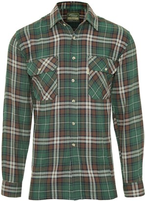 Champion Men's Kempton Long Sleeve Checked Cotton Regular Fit Shirt (Green) XL