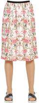 Mother of Pearl Amelia Flamingo Silk Georgette Skirt