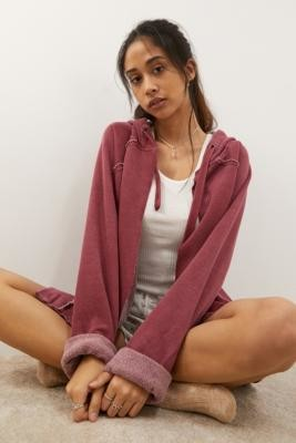 Out From Under Verna Second Layer Hoodie - Red XS at Urban Outfitters