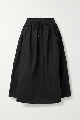 Apiece Apart Wabi Sabi Cotton-poplin Midi Skirt - Black