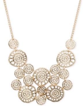 lonna & lilly Gold-Tone Textured Disc Drama Necklace