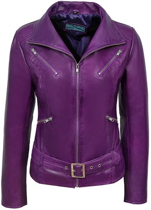 Carrie Hoxton Stylish Danielle New Ladies Purple Jacket Italian Real Lambskin Leather Biker Casual Style Design (16)