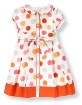 Janie and Jack Piped Dot Shirt Dress